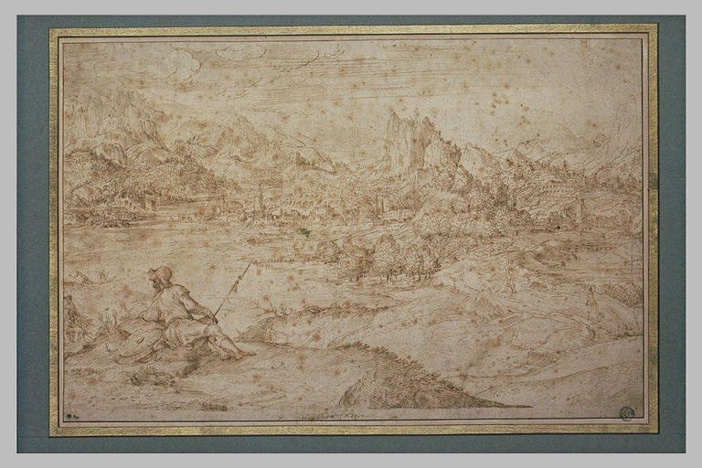 Paysage montagneux avec une ville au bord d'un fleuve et un guerrier assis