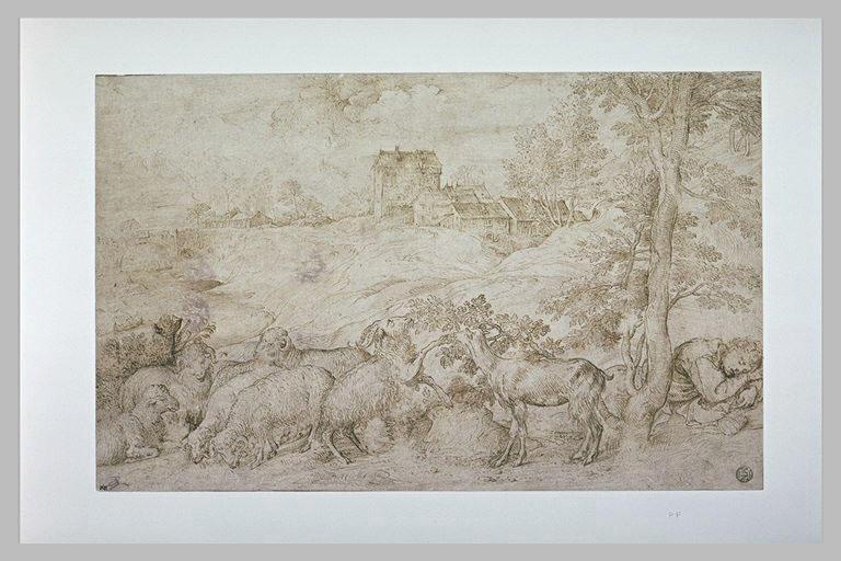 Paysage avec un berger endormi près de son troupeau, avec un village au loin