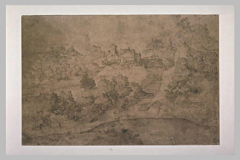 Vue d'un village et de deux figures conversant dans un paysage