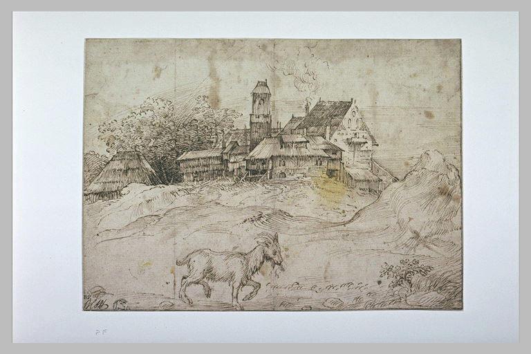 Paysage avec des bâtiments de ferme et une chèvre