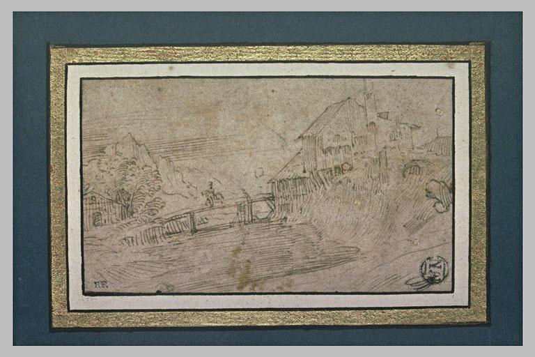 Paysage avec un cavalier passant un pont de bois