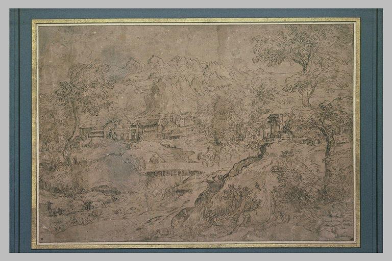 Paysage montagneux avec une ville, et des cavaliers franchissant un pont