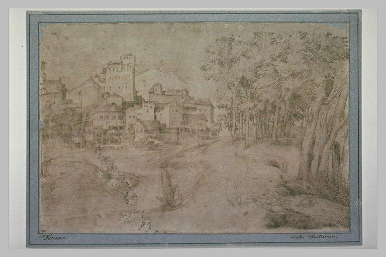 Ville au bord d'une rivière, avec la lisière d'un bois sur la droite