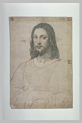 Le Christ, de face, en buste, tenant un livre