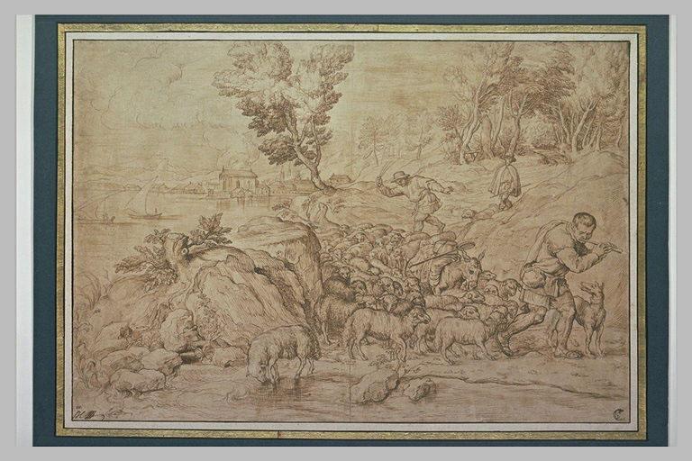 Un berger jouant de la flûte menant son troupeau, avec deux autres bergers