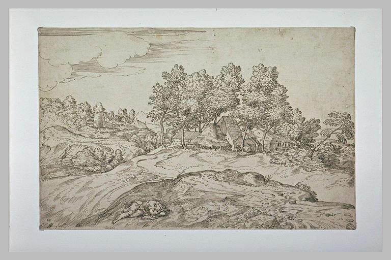 Paysage avec un hameau dans un bois, et un homme allongé, dormant