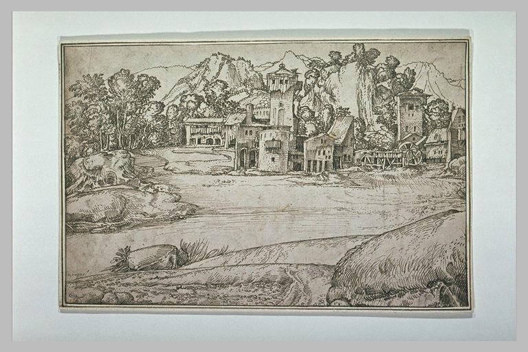 Paysage avec des bâtiments de ferme et un moulin près d'une rivière