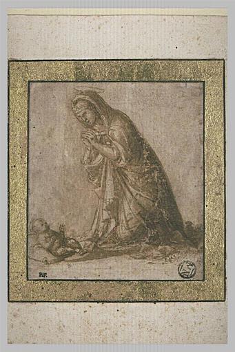 La Vierge en prière devant l'Enfant Jésus