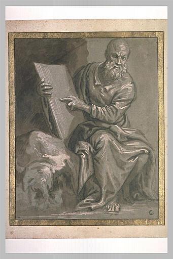 Moïse tenant les Tables de la Loi, assis, vu de face