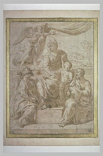 La Vierge à l'Enfant sur un trône invoquée par deux saints
