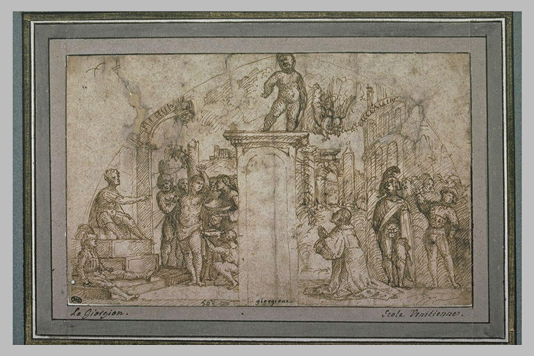 Projet de fresque avec le martyre de saint Sébastien, et un homme priant