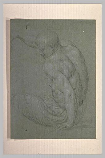 Homme demi nu, assis, de dos, appuyé sur la main gauche, bras droit levé