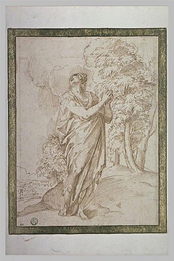 Femme debout dans un paysage, les mains jointes, les yeux au ciel