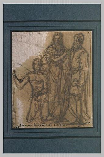 Deux figures debout et une à genoux