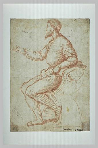 Homme assis, de profil, conversant, et étude de main