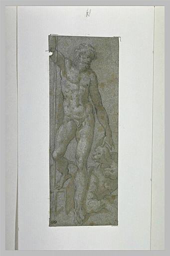 Homme barbu, nu, appuyé sur une fourche, avec à ses pieds deux chiens
