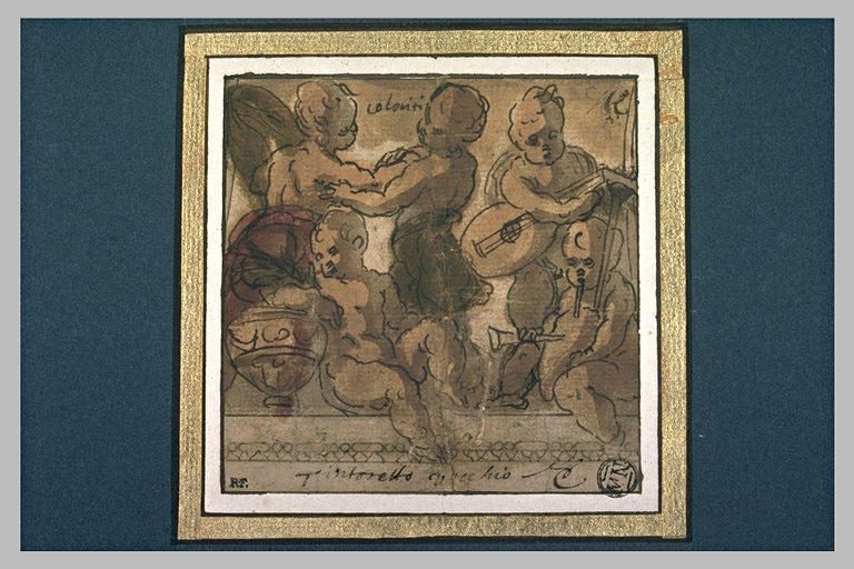 Cinq enfants dansant ou faisant de la musique