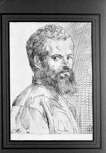 Homme barbu et moustachu, vu de trois quarts