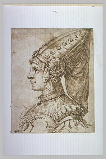 Buste de femme de profil, portant un hennin, tournée vers la gauche