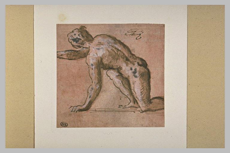 Homme nu, de dos, agenouillé et se relevant, tourné vers la gauche