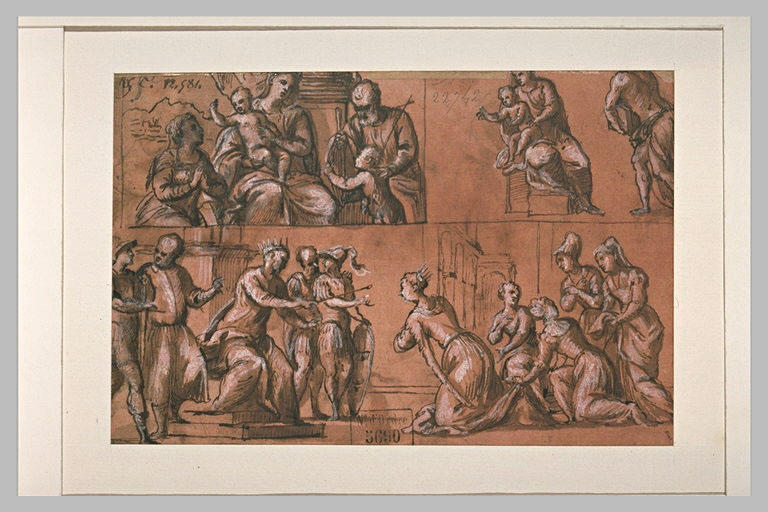 Sainte Famille avec des saints, et Esther devant Assuérus