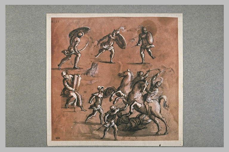 Trois soldats, combat de cavaliers et de fantassins, vieillard assis