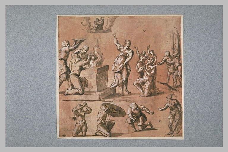 Apparition de la Vierge à l'Enfant lors d'un sacrifice païen