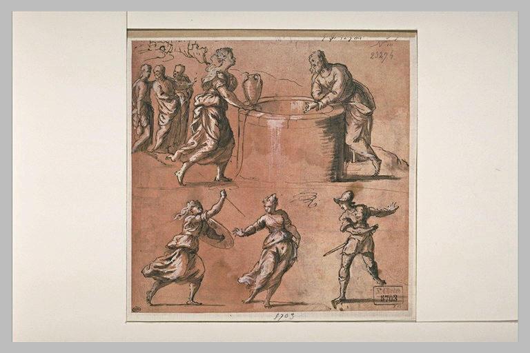 Le Christ et la Samaritaine au puits, une femme attaquée par une autre femme