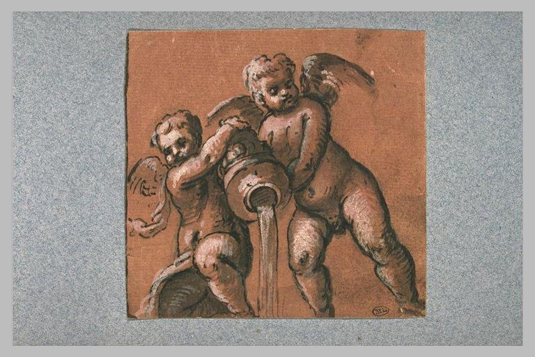 Deux anges tenant un vase renversé d'où s'écoule de l'eau