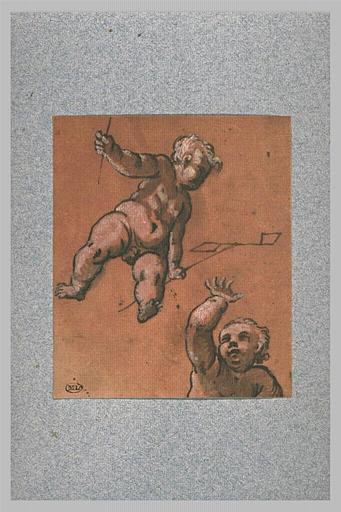 Un enfant dans les airs tenant des signaux et une demi-figure d'enfant
