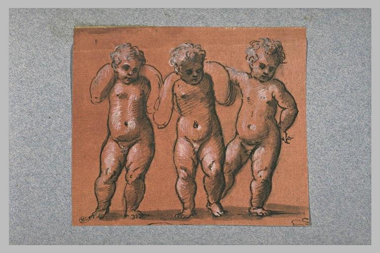 Trois enfants nus, debout