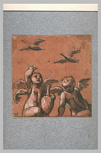Deux amours assis, et deux oiseaux planant dans les airs
