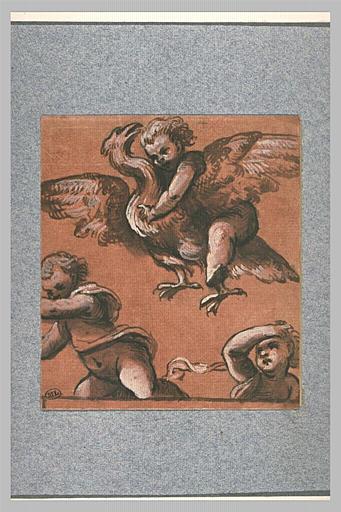 Un ange chevauchant un aigle planant au-dessus de deux enfants effrayés