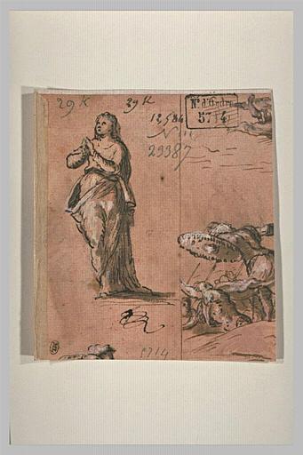 Une femme debout les mains jointes, et fragment d'une scène de bataille