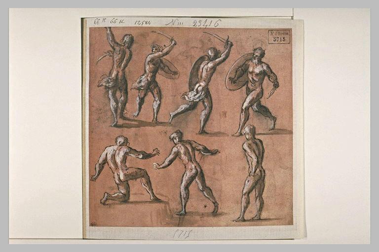 Deux couples de soldats combattant, et trois figures d'hommes nus