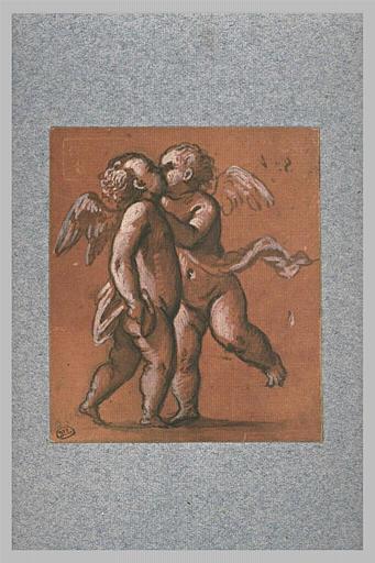 Deux angelots debout, s'embrassant