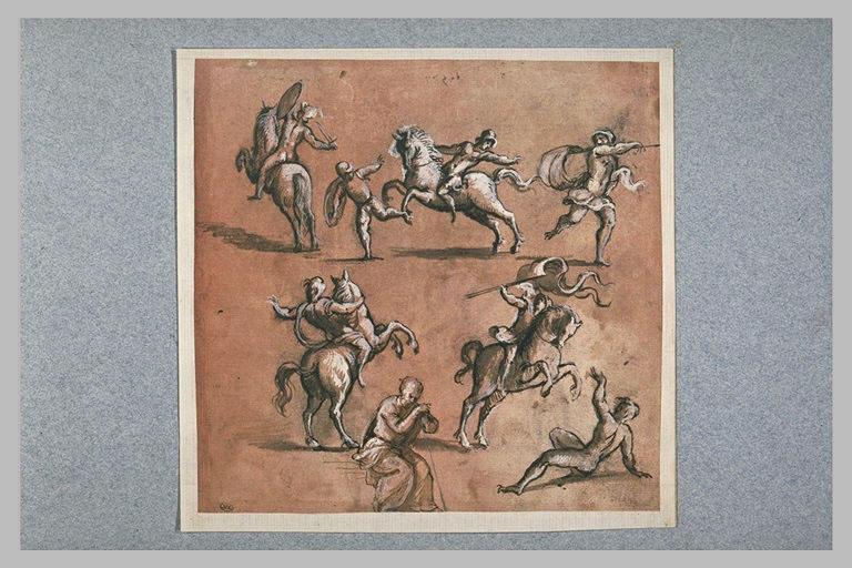 Etudes d'hommes dans diverses attitudes, et de cavaliers