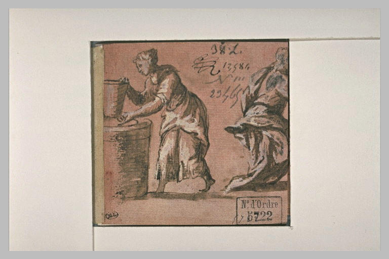 La Samaritaine au puits, et une autre figure, coupée, s'éloignant