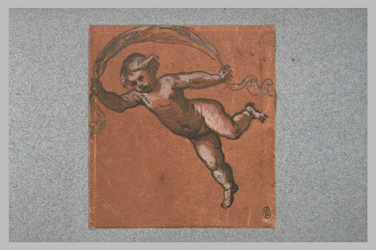 Un enfant nu, suspendu dans les airs, tenant une banderolle_0
