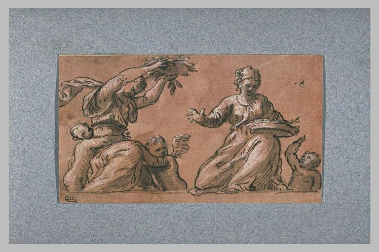 Deux femmes, assises, lançant des fleurs et trois enfants nus