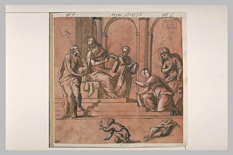 Saint Jean Baptiste avec l'Agneau s'entretenant avec des prêtres