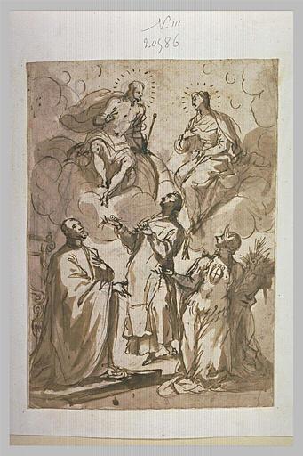 Trois figures adorant la Vierge et le Christ assis sur des nuages