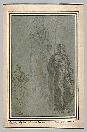 Etudes d'homme et de deux figures de Mars