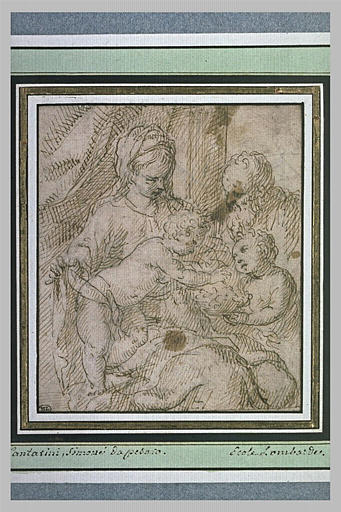 La Sainte Famille avec saint Jean présentant une corbeille de fleurs
