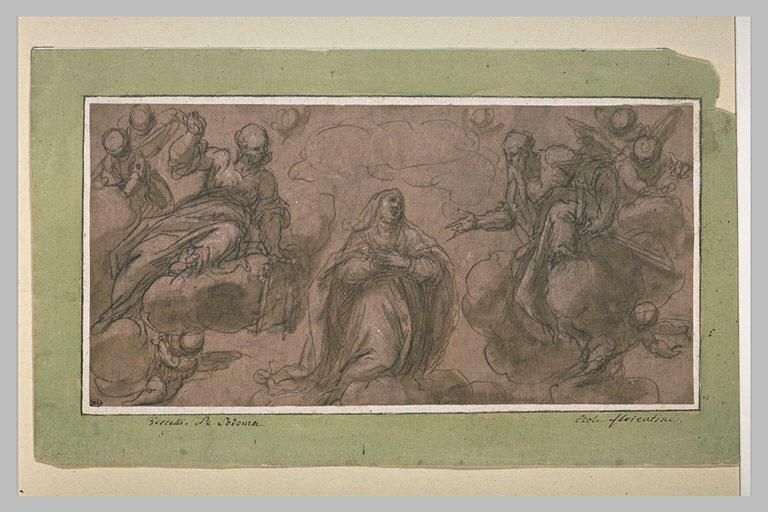 La Vierge sur des nuages entre Dieu le père et saint Pierre