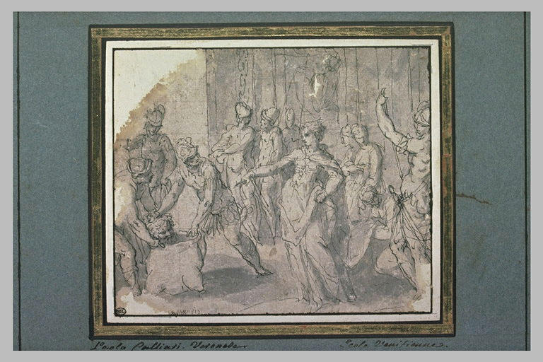 Deux soldats présentent à Salomé la tête de saint Jean-Baptiste