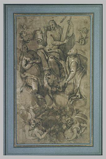 Le Christ tenant la Croix, saint Pierre et la Vierge au-dessus du Purgatoire