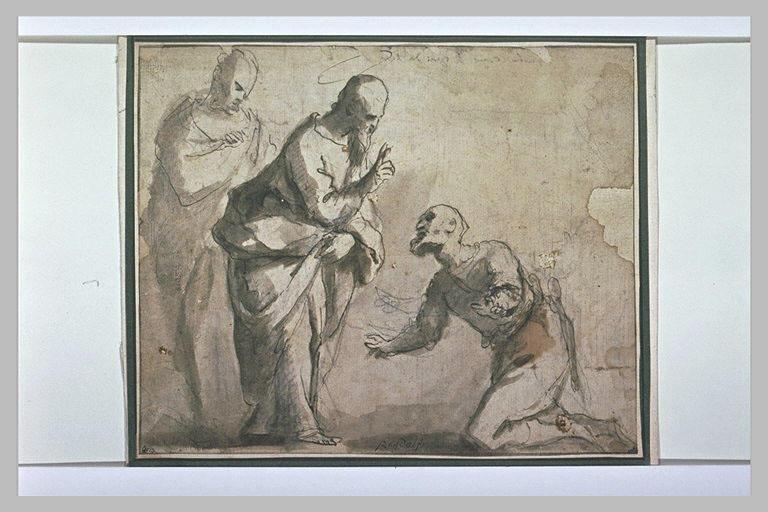 Saint bénissant un homme agenouillé devant lui