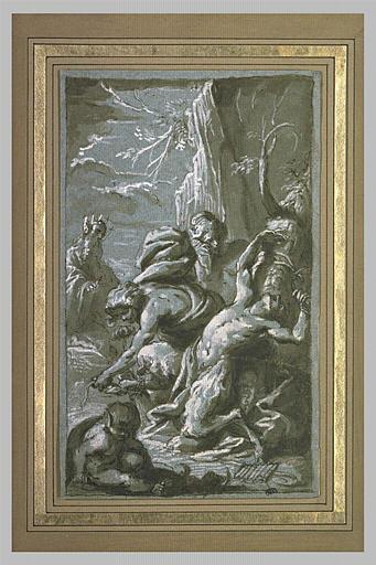 Apollon attachant Marsyas à un arbre