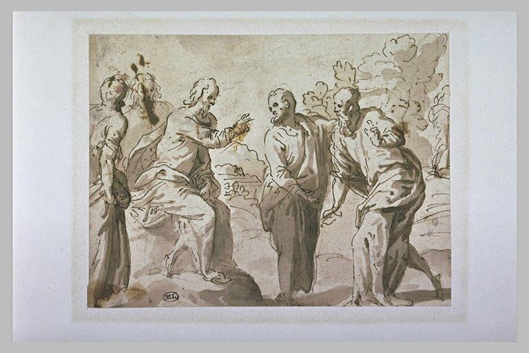 Le Christ bénissant un apôtre (?)